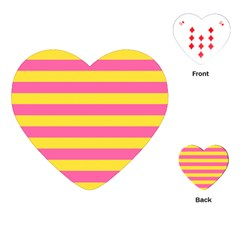 Horizontal Pink Yellow Line Playing Cards (heart)  by Mariart