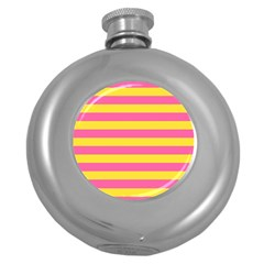 Horizontal Pink Yellow Line Round Hip Flask (5 Oz) by Mariart