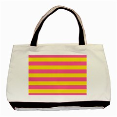 Horizontal Pink Yellow Line Basic Tote Bag (two Sides) by Mariart