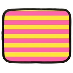 Horizontal Pink Yellow Line Netbook Case (large) by Mariart