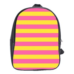 Horizontal Pink Yellow Line School Bags(large)