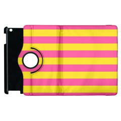 Horizontal Pink Yellow Line Apple Ipad 3/4 Flip 360 Case by Mariart