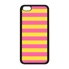 Horizontal Pink Yellow Line Apple Iphone 5c Seamless Case (black) by Mariart
