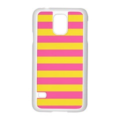 Horizontal Pink Yellow Line Samsung Galaxy S5 Case (white) by Mariart