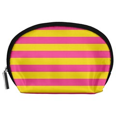 Horizontal Pink Yellow Line Accessory Pouches (large)  by Mariart