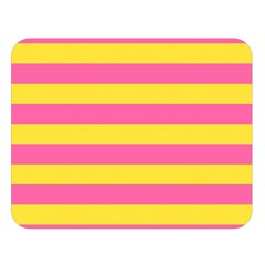 Horizontal Pink Yellow Line Double Sided Flano Blanket (large)  by Mariart