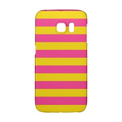 Horizontal Pink Yellow Line Galaxy S6 Edge by Mariart