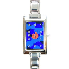 Image Orange Blue Sign Black Spot Polka Rectangle Italian Charm Watch by Mariart