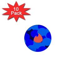 Image Orange Blue Sign Black Spot Polka 1  Mini Buttons (10 Pack)  by Mariart