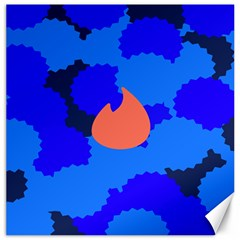 Image Orange Blue Sign Black Spot Polka Canvas 20  X 20   by Mariart