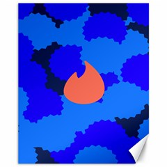 Image Orange Blue Sign Black Spot Polka Canvas 11  X 14   by Mariart