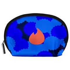 Image Orange Blue Sign Black Spot Polka Accessory Pouches (large)  by Mariart