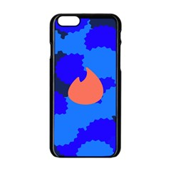 Image Orange Blue Sign Black Spot Polka Apple Iphone 6/6s Black Enamel Case by Mariart