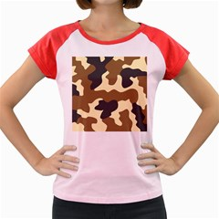 Initial Camouflage Camo Netting Brown Black Women s Cap Sleeve T Shirt