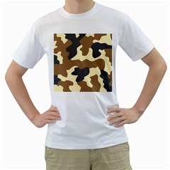 Initial Camouflage Camo Netting Brown Black Men s T Shirt (white) (two Sided)