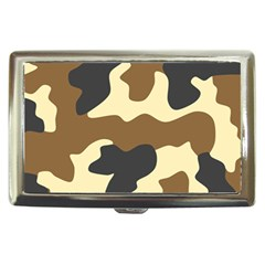 Initial Camouflage Camo Netting Brown Black Cigarette Money Cases by Mariart