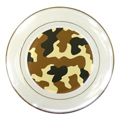 Initial Camouflage Camo Netting Brown Black Porcelain Plates by Mariart