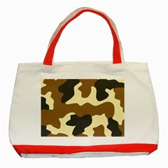 Initial Camouflage Camo Netting Brown Black Classic Tote Bag (red) by Mariart