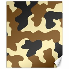 Initial Camouflage Camo Netting Brown Black Canvas 8  X 10  by Mariart