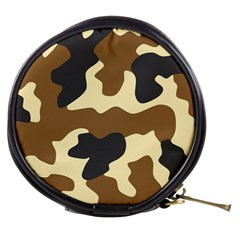 Initial Camouflage Camo Netting Brown Black Mini Makeup Bags by Mariart