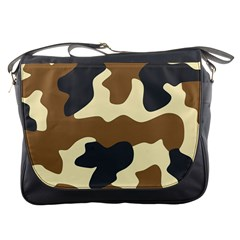 Initial Camouflage Camo Netting Brown Black Messenger Bags by Mariart