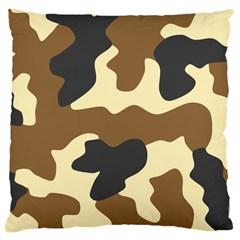Initial Camouflage Camo Netting Brown Black Large Cushion Case (one Side) by Mariart