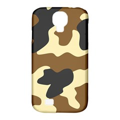 Initial Camouflage Camo Netting Brown Black Samsung Galaxy S4 Classic Hardshell Case (pc+silicone) by Mariart