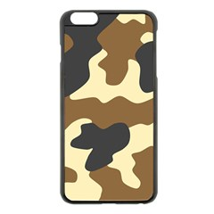 Initial Camouflage Camo Netting Brown Black Apple Iphone 6 Plus/6s Plus Black Enamel Case by Mariart