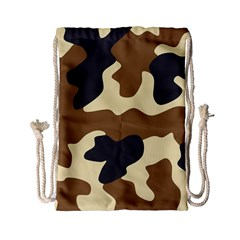 Initial Camouflage Camo Netting Brown Black Drawstring Bag (small)