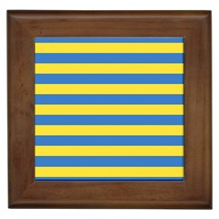 Horizontal Blue Yellow Line Framed Tiles by Mariart