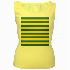 Horizontal Blue Yellow Line Women s Yellow Tank Top by Mariart