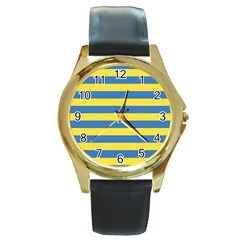 Horizontal Blue Yellow Line Round Gold Metal Watch by Mariart