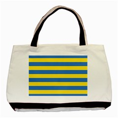 Horizontal Blue Yellow Line Basic Tote Bag (two Sides) by Mariart