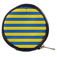 Horizontal Blue Yellow Line Mini Makeup Bags by Mariart