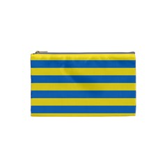 Horizontal Blue Yellow Line Cosmetic Bag (small)  by Mariart