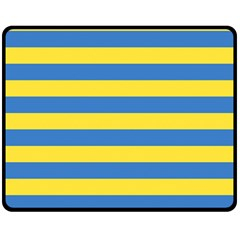 Horizontal Blue Yellow Line Fleece Blanket (medium)  by Mariart