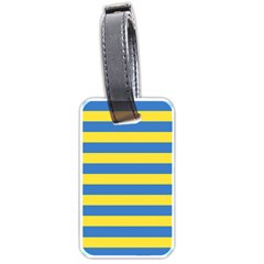 Horizontal Blue Yellow Line Luggage Tags (two Sides) by Mariart