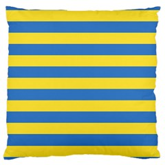 Horizontal Blue Yellow Line Large Cushion Case (two Sides) by Mariart