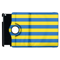 Horizontal Blue Yellow Line Apple Ipad 3/4 Flip 360 Case by Mariart