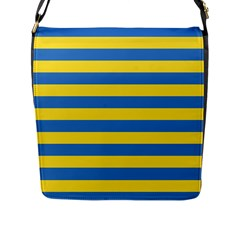 Horizontal Blue Yellow Line Flap Messenger Bag (l)  by Mariart