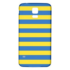 Horizontal Blue Yellow Line Samsung Galaxy S5 Back Case (white) by Mariart