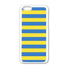 Horizontal Blue Yellow Line Apple Iphone 6/6s White Enamel Case by Mariart
