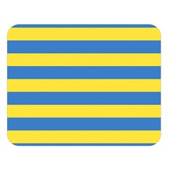 Horizontal Blue Yellow Line Double Sided Flano Blanket (large)  by Mariart