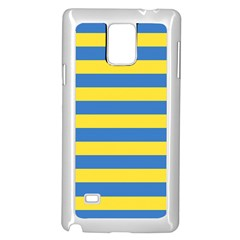 Horizontal Blue Yellow Line Samsung Galaxy Note 4 Case (white) by Mariart