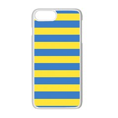 Horizontal Blue Yellow Line Apple Iphone 7 Plus White Seamless Case by Mariart