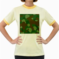 Initial Camouflage Como Green Brown Women s Fitted Ringer T Shirts