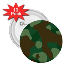 Initial Camouflage Como Green Brown 2 25  Buttons (10 Pack)  by Mariart