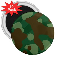 Initial Camouflage Como Green Brown 3  Magnets (10 Pack)  by Mariart