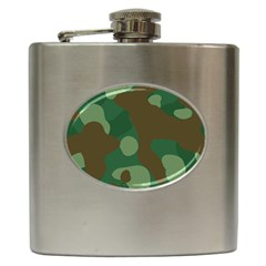 Initial Camouflage Como Green Brown Hip Flask (6 Oz) by Mariart