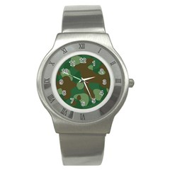 Initial Camouflage Como Green Brown Stainless Steel Watch by Mariart